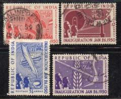 Y937 - INDIA 1950 , Yvert Serie N. 27/30  Usato    (2380A). - 1950-59 Repubblica