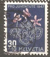 "Switzerland: 1 Used Stamp, ""Pro Juventure"", Alps Flowers, Cyclamen, 1947, Mi#491 - Oblitérés"