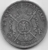 France - 5 Francs Napoléon III 1870A - TB - Argent - J. 5 Francs