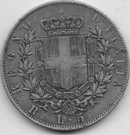 Italie - 5 Lires 1877 - TB - Argent - 1861-1946 : Reino