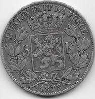 Belgique - 5 Francs 1873 - Argent - 09. 5 Francs