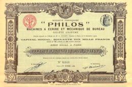 """""""Philos"""" Machines à Ecrire Et Mecanique De Bureau, Part - Shareholdings"""
