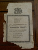 Antiek Doodsbericht  PETRUS -- JOSEPHUS  STROOBANTS   Geb . Te LOVEN 1846  --overl . 1869  LEUVEN - Décès