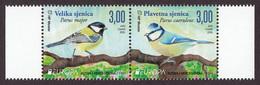 Bosnia Croatia 2019 Europa CEPT National Birds Fauna Parus Major, Parus Caeruleus, Set In Pair MNH - 2019