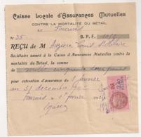 1943 TIMBRE FISCAL DA 2.40 FRANCS SUR RECU DE LA CAISSE LOCALE D'ASSURANCES MUTUELLES CONTRE MORTALITE BETAIL B1054 - Fiscaux
