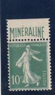 France - 1924-26 - N°YT 188A** Certificat - Minéraline - Cote 725€ - Nuovi