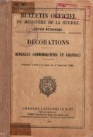 DECORATIONS MEDAILLES COMMEMORATIVES ET COLONIALE 1933 MANUEL REGLEMENT BULLETIN OFFICIEL - France
