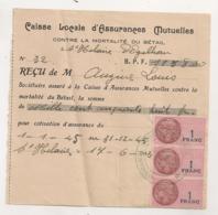 1945 3 TIMBRES FISCAUX 1 FRANCS SUR RECU DE LA CAISSE LOCALE D'ASSURANCES MUTUELLES CONTRE MORTALITE BETAIL B1053 - Fiscaux
