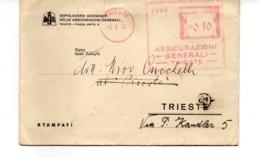 1936 EMA Affrancatura Meccanica Rossa Freistempel Trieste Assicurazioni Generali - Poststempel - Freistempel