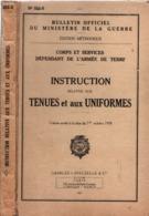 INSTRUCTION TENUES ET UNIFORMES PATTES COLLET ECUSSONS GALONS 1959 MANUEL REGLEMENT BULLETIN OFFICIEL - Uniforms