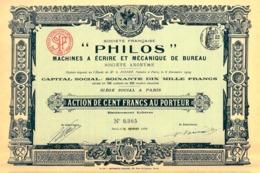 """""""Philos"""" Machines à Ecrire Et Mecanique De Bureau, Action - Shareholdings"""