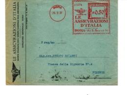 1937 EMA Affrancatura Meccanica Rossa Freistempel Roma Le Assicurazioni D'Italia Aquila - Affrancature Meccaniche Rosse (EMA)