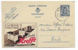 BELGIQUE - 1942 - CARTE ENTIER PUBLIBEL (CUISINE KREFFT) De NIVELLES => UCCLE - Stamped Stationery