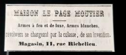 1860 MAISON FAURE LE PAGE MOUTIER ARMES A FEU & DE LUXE REVOLVER ARME ARQUEBUSIER PUBLICITE ANCIENNE ANTIQUE AD FIREARMS - Publicités