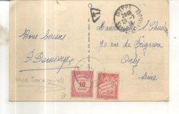 Timbre Taxe Mixte Sur Carte Postale 20. Puys, Les Greves - 1859-1955 Covers & Documents
