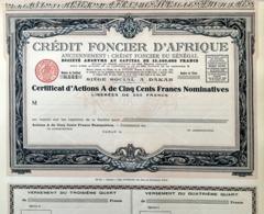 Crédit Fonçier D'Afrique, Certificat D'Actions A - Bank & Insurance