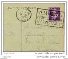 """Flamme Flier """"AMIENS FOIRE-EXPOSITION"""" 1928 Frappe SUPERBE S CP Amiens - Oblitérations Mécaniques (flammes)"""