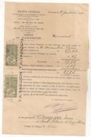 1921 TIMBRES FISCAUX / 2C ET 5C IMPOT / SUR DOC SOCIETE GENERALE  B1052 - Fiscaux