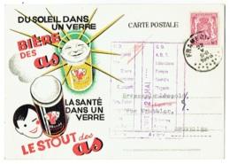 Entier Publicité.  Bière Des As/Le Stout Des As. Frameries. Brasseries Réunies Cousin & De Rauw. - Publicité