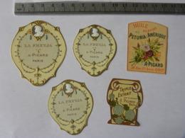 Lot De 5 étiquettes Parfum - PICARD PARIS - La Freyja, Triple Extrait Pour Le Mouchoir, Huile Au Surfiné Pétunia Amériqu - Labels