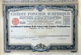 Crédit Fonçier D'Afrique, Certificat D'Actions B - Banco & Caja De Ahorros
