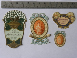 Lot De 4 étiquettes Parfum - Lubin Paris, Mugualba, Chysanthème, Bouquet Greuze - Etichette