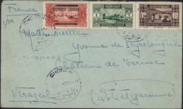 YT 101 + 133 + 135 2 République Libanaise + Un Grand Liban Barré Surcharge République Libanaise CAD Chodeir Dos Beyrouth - Líbano