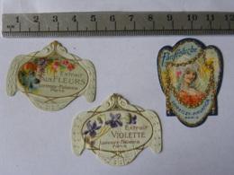Lot De 3 étiquettes Parfum - Lorenzy Palanca  -Extrait Aux Fleurs, Franfreluche, L'étiquette Violette Est Abimée - Labels
