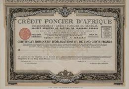 Crédit Fonçier D'Afrique, Certificat Nominatif - Banco & Caja De Ahorros