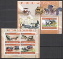 TG1263 2010 TOGO TRANSPORT HISTORY THE COACHES CARROSSES 1KB+1BL MNH - Stage-Coaches