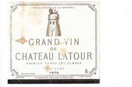 Etiquette  - Grand Vin De Château LATOUR - Pauillac 1° Grand Cru Classé - 1976 - - Bordeaux