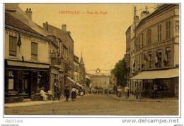 JOINVILLE - Rue Du Pont (café, Drapeaux, Fête, Carte Brillante) - Joinville Le Pont
