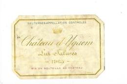 Etiquette  -  Château D'Yquem - Lur-Saluces - SAUTERNES - - Bordeaux