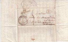 """FRANCE : MARQUE POSTALE . CAD T13 . """" LA SOUTERRAINE """" . ET CURSIVE """" 22 BENEVENT """" . 1834 . - Poststempel (Briefe)"""