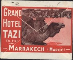Enveloppe Illustrée Chameau Dromadaire Grand Hôtel Tazi Marrakech Maroc YT 129 130 131 137 162 Daguin Venez Hiverner - Marokko (1891-1956)