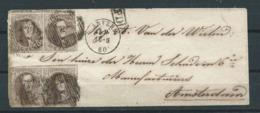 TB Env 1860 Anvers Vers Amsterdam - Affr 40 Centimes Avec 2 Paires Nr10 A - Griffe Encadrée PD - Lire - 1858-1862 Medallions (9/12)