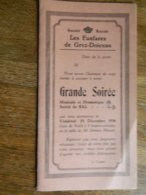GREZ-DOICEAU:PROGRAMME DE LA GRANDE SOIREE DES FANFARES DE GREZ DOICEAU DE 1936 AVEC UN BAL - Programmes
