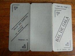 TOURINNES LA GROSSE: PROGRAMME DU BAL DE GALA DU CLUB DES VINGT LE 21 JANVIER 1939 SALLE DES VARIETES-COULEUR VERT - Programmes