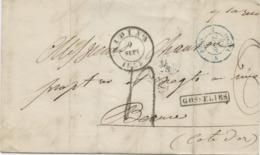 BELGIQUE - CAD D'AMBULANT MIDI N°5 + GRIFFE  GOSSELIES SUR LETTRE AVEC TEXTE POUR LA FRANCE, 1854 - Belgium