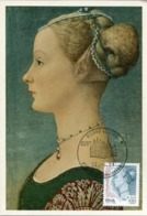 48030 Italia, Maximum 1999  Painting Of Pollaiolo, Woman , Unknown Portrait,unbekanntes Porträt,portrait Inconnu - Maximumkarten (MC)
