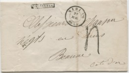 BELGIQUE - CAD D'AMBULANT MIDI N°6 + GRIFFE GOSSELIES SUR LETTRE AVEC TEXTE POUR LA FRANCE, 1853 - Belgium