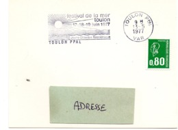 MARINE = 83 TOULON 1977 = FLAMME Type II = SECAP Illustrée ' FESTIVAL De La MER ' - Oblitérations Mécaniques (flammes)