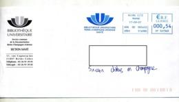 Lettre Flamme Ema Reims Bibliotheque Universitaire - Affrancature Meccaniche Rosse (EMA)