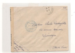 FRANCE 1945  ENVELOPPE F.M. POSTE AUX ARMÉES  POUR LIMOGES OUVERT PAR LES AUTORITÉS MILITAIRES - Storia Postale