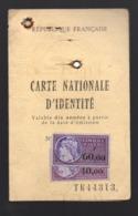 Carte D'identité  Délivrée En 1982 Avec 2 Timbres Fiscaux 40 Et 60f  (PPP20659) - Fiscali
