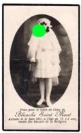 Décès D'une Enfant Blanche Saint Mont En 1921 à L'âge De 15 Ans 1/2 / Imprimerie Renard Dans Rue Méan à Liège - Décès