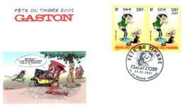 Fête Du Timbre Gaston Lagaffe N° 3370 X 2- 2001-enveloppe-16.5 X 9.5 - Altri