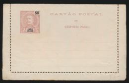 PORTUGAL  CARTAO POSTAL  DE RESPOSTA PAGA - CABO VERDE  50 REIS  2 SCANS - Cap Vert