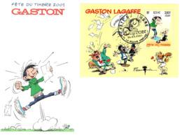 Fête Du Timbre Gaston Lagaffe N° 3371-2001- Feuillet-enveloppe 16 X 11.5 - Altri
