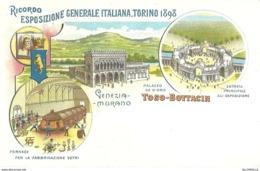 """4780 """"RICORDO ESPOSIZIONE GENERALE ITALIANA-TORINO 1898-TOSO BOTTACIN-FORNACE PER LA FABBR VETRI.""""-CART. POST.NON SPED. - Fiere"""